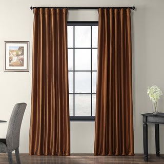 Copper Brown Faux Silk Taffeta Curtain Panel