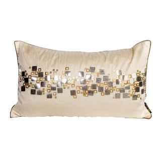 Silver Diamond Rhinestone Rectangular Tan Down Pillow