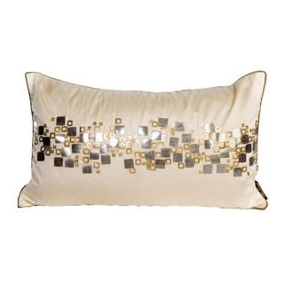 Silver Diamond Rhinestone Rectangular Tan Feather Filled Throw Pillow