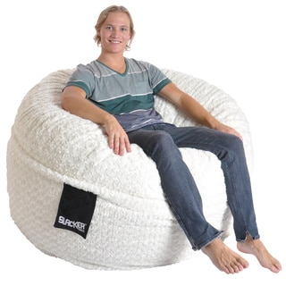 Slacker Sack 5 foot Round Large Soft White Fur Foam Bean Bag Chair