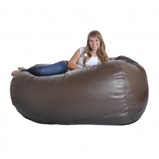 Slacker Sack 6-inch Large Brown Oval Faux Leather & Foam Bean Bag Chair