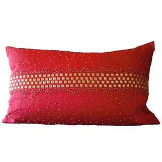 Red Crystal Diamond Down Rectangle Pillow