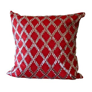 Red Crystal Diamond Square Pillow