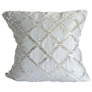 Light Blue Crystal Diamond Down Rectangle Pillow