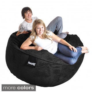 6-foot Round Corduroy Microfiber Suede and Foam Giant Bean Bag Chair