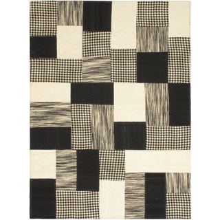 Hand Woven Mosaico Black/ Cream Wool Rug (4'7 x 6'7)