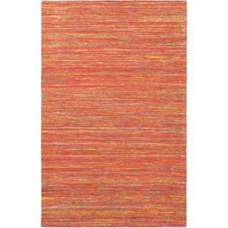 Hand Woven Dhurrie Red Viscose Rug (5'1 x 8')