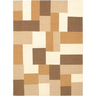 Hand Woven Mosaico Cream/ Light Brown Wool Rug (4'7 x 6'7)
