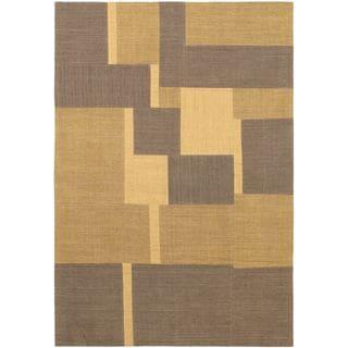 Hand Woven Mosaico Light Brown Wool Rug (4'7 x 6'7)