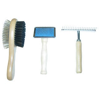 Best In Show 3-piece Wooden Pet Grooming Tool Set (Combo Brush, Small Slicker Brush & Shedding Rake)