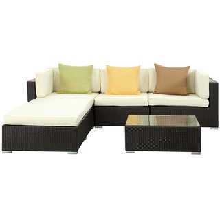 Innovate Outdoor Patio 5-Piece Espresso/ White Sofa Set