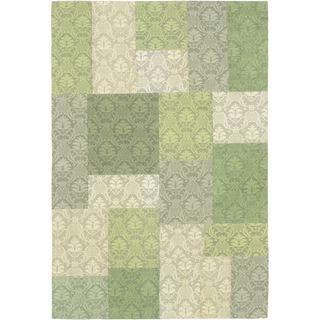 Hand Woven Collage Green/ Light Green Viscose Rug (4'1 x 6')
