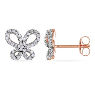 Miadora Roseplated Silver 1/4ct TDW Diamond Butterfly Earrings (H-I, I2-I3)