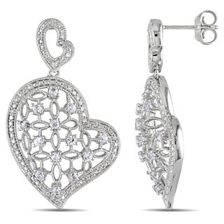 Miadora Silver Created White Sapphire and Diamond Heart Earrings
