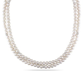 Miadora Sterling Silver White Cultured Freshwater Pearl Endless Necklace (6-6.5 mm)