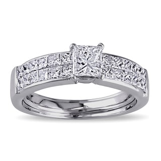 Miadora 18k White Gold 1 1/4ct TDW Princess Cut Diamond Ring (G-H, SI1-SI2)