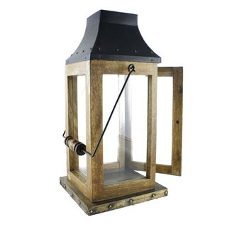 Rustic Wood and Metal Lantern (India)