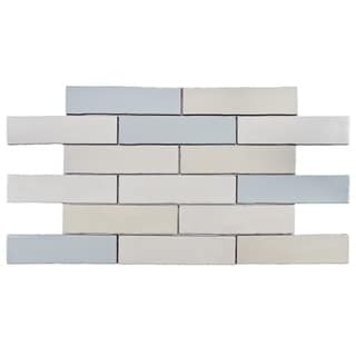 SomerTile 3x12-in Alaskan Craquelle Mix Cermaic Wall Tile (Case of 16 Tiles)