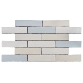 SomerTile 3x12-in Alaskan Craquelle Mix Ceramic Wall Tiles (Case of 16 Tiles)