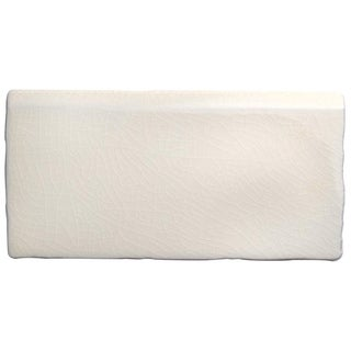 SomerTile 3x6 Artic Craquelle White Bullnose Ceramic Wall Trim Tiles (Case of 5)