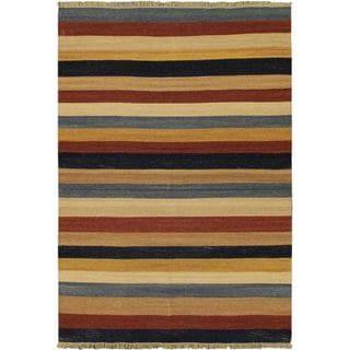 5'7x7'10 Hand Woven Fiesta Khaki Wool Rug