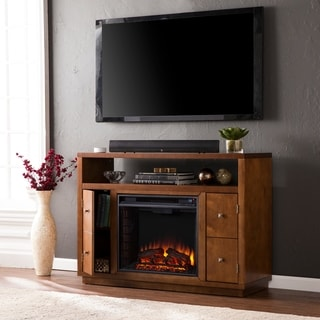 Upton Home Hepburn Brown Media Console/ Stand Electric Fireplace