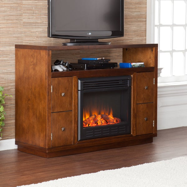Upton Home Hepburn Brown Media Console Stand Electric Fireplace