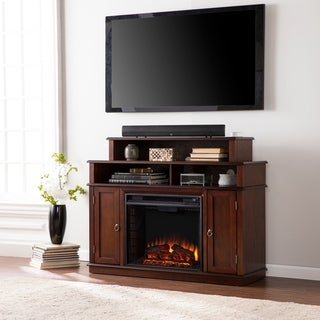 Upton Home Langley Espresso Media Console/ Stand Electric Fireplace