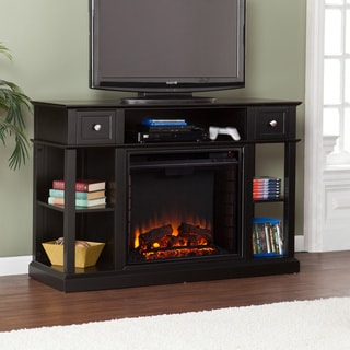 Upton Home Nixon Black Media Console/ Stand Electric Fireplace