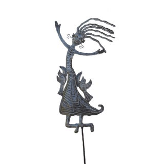 Handcrafted Recycled Steel Drum Happiness Garden Stake (Haiti)