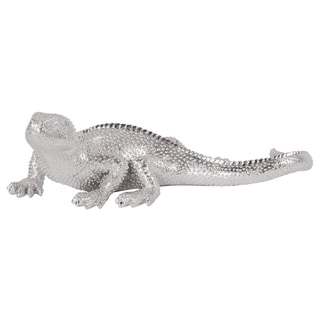 Bright Textured Nickel Lizard Figurine