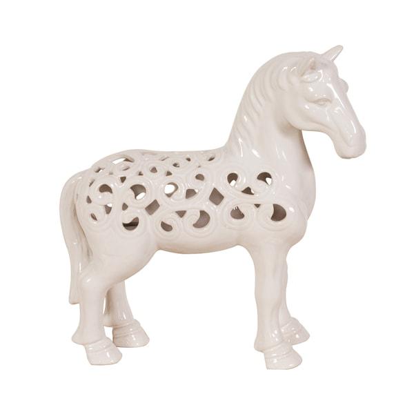 Glossy White Ceramic Horse