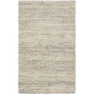 4'11x8'2 Hand Woven Silky Marble Cream Wool Rug