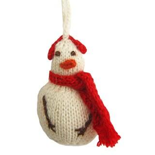Hand-knit Alpaca Snowman Ornament (Peru)