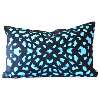 Laser Cut Blue 24-inch Down Fill Decorative Throw Pillow