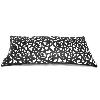 Laser Cut Black 26-inch Down Fill Decorative Throw Pillow