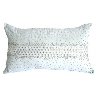 Light Blue Crystal Diamond Rectangular Down Fill Decorative Throw Pillow