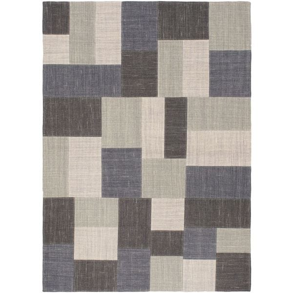 4'9x6'7 Hand Woven Mosaico Black Khaki Wool Rug