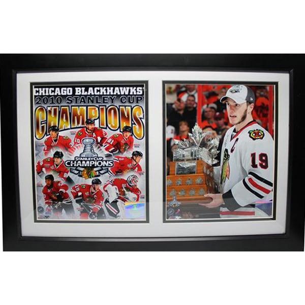 Chicago Blackhawks Stanley Cup Jonathon Toews 12 x 18 Double Frame Photo