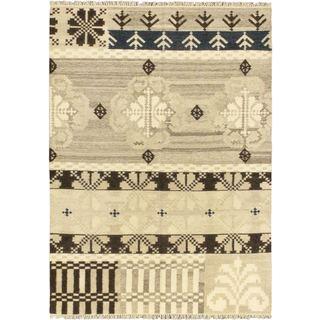 Hand Woven Istanbul 'Yama Kilim' Cream/ Brown Wool Rug (5'7 x 7'10)