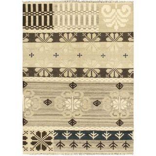 5'8x7'10 Hand Woven Istanbul Yama Kilim Cream Wool Rug