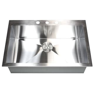 Stainless Steel Brushed Satin 33-inch Single Bowl Topmount Drop-in Zero Radius Kitchen Sink