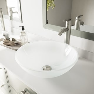 VIGO White Frost Vessel Bathroom Sink and Brushed Nickel Faucet Set
