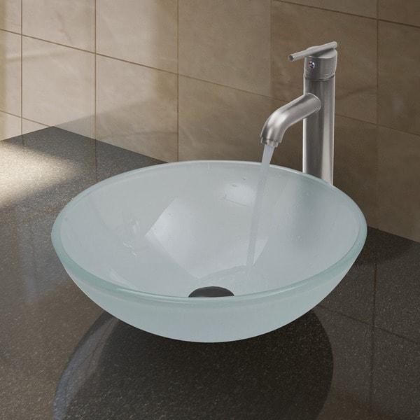 Set Tub Sink : VIGO White Frost Vessel Bathroom Sink and Brushed Nickel Faucet Set ...