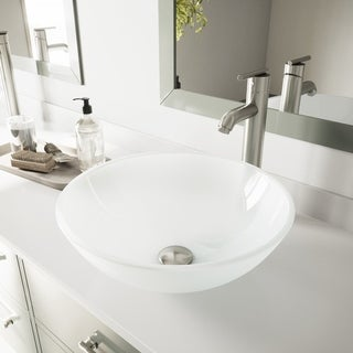 VIGO White Frost Vessel Bathroom Sink and Brushed Nickel Faucet Set