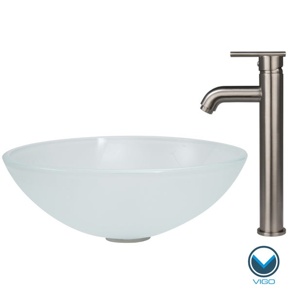 White Faucet Bathroom : VIGO White Frost Vessel Bathroom Sink and Brushed Nickel Faucet Set ...