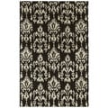 Hand-tufted Swanky Black Ikat Wool Rug (2' x 3')