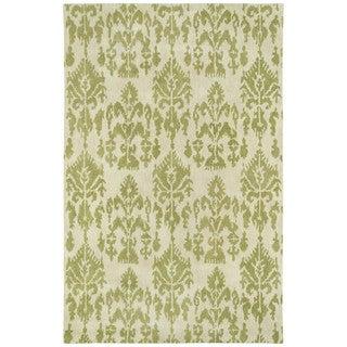 Swanky Green Ikat Wool Rug (4' x 6')