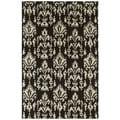 Swanky Black Ikat Wool Rug (4' x 6')