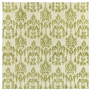 Swanky Green Ikat Wool Rug (7'9 x 7'9 Square)